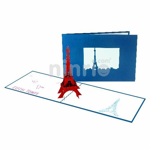 Thiệp tháp Eiffel 3D - Thiệp 3D công trình nổi tiếng