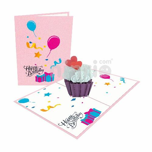 Thiệp Bánh cupcake trái tim – Thiệp pop up sinh nhật