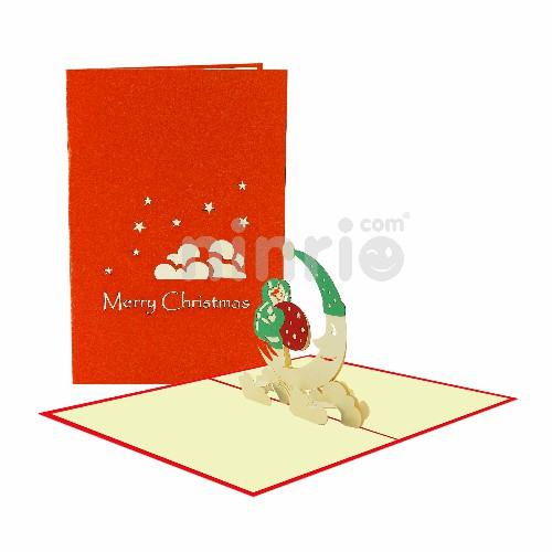 Thiệp ông già Noel và mặt trăng - Thiệp 3D Giáng sinh