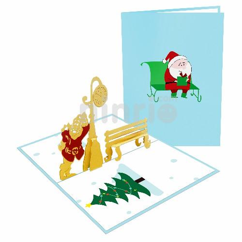 Thiệp ông già Noel và ghế băng - Thiệp 3D Giáng sinh