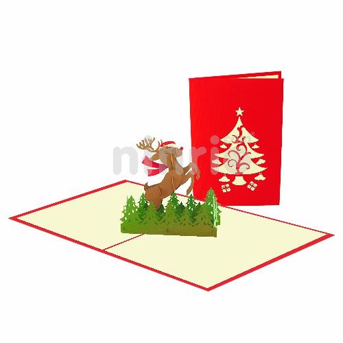 Rudolph Reindeer Card – Christmas 3D Popup Card