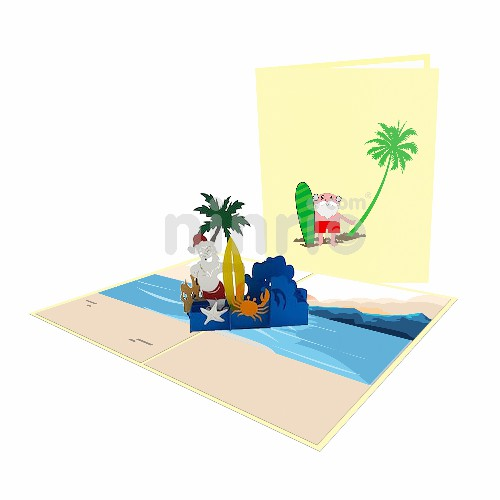 Santa's Vacation Card – Christmas 3D Popup Card
