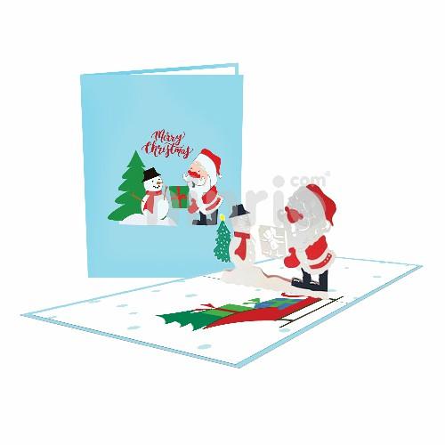 Thiệp Tặng quà người tuyết – Thiệp Giáng sinh 3D