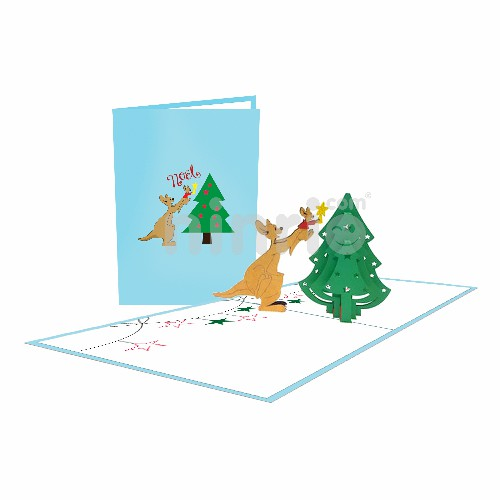 Christmas Kangaroo Card – Christmas 3D Popup Card