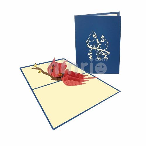 Thiệp Chim hồng tước 3D – Thiệp động vật