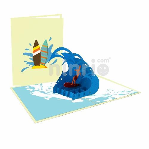 Thiệp cậu bé lướt sóng 3D - Thiệp thể thao