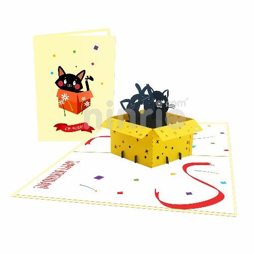 Thiệp Mèo trong hộp - Thiệp sinh nhật pop up