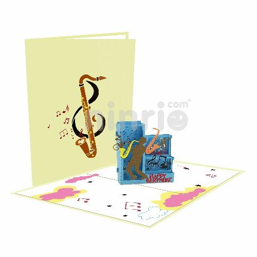 Thiệp kèn Saxophone 3D – Thiệp âm nhạc