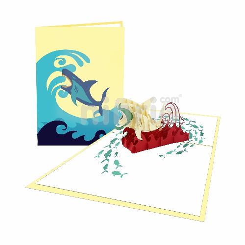 Thiệp Cá mập hung dữ - Thiệp 3D Động vật