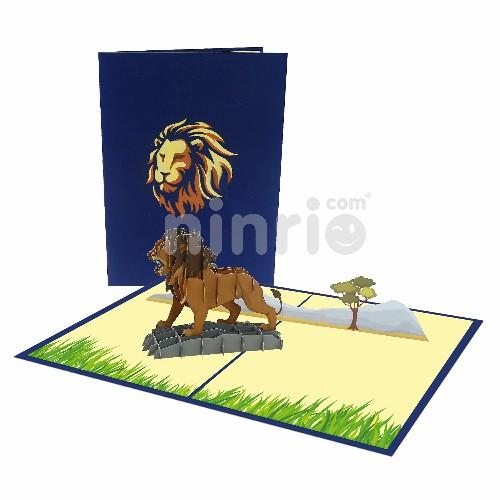 Thiệp Sư tử 3D - Thiệp Động vật