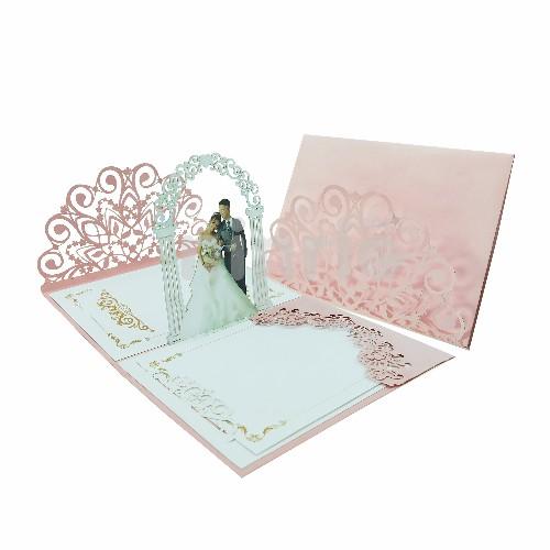 Thiệp cưới hồng - Thiệp cưới 3D