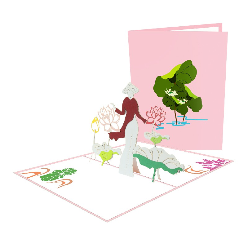 Girl and nelumbo nucifera Card – Flower 3D Card