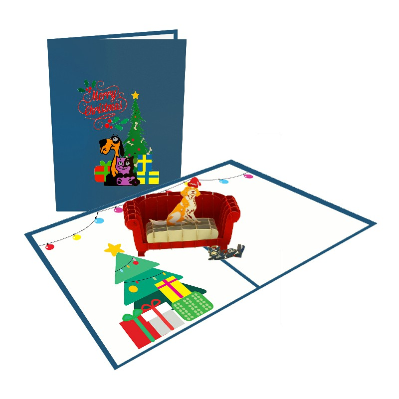 Dog and cat welcome Christmas Card – Christmas 3D Popup Card