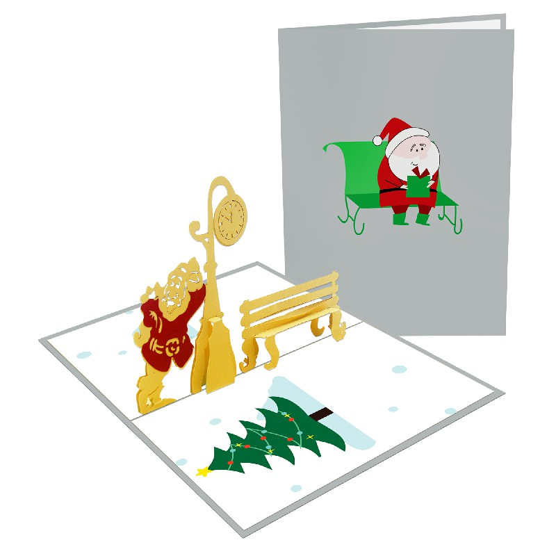 Stanta Claus and bench 3D Card