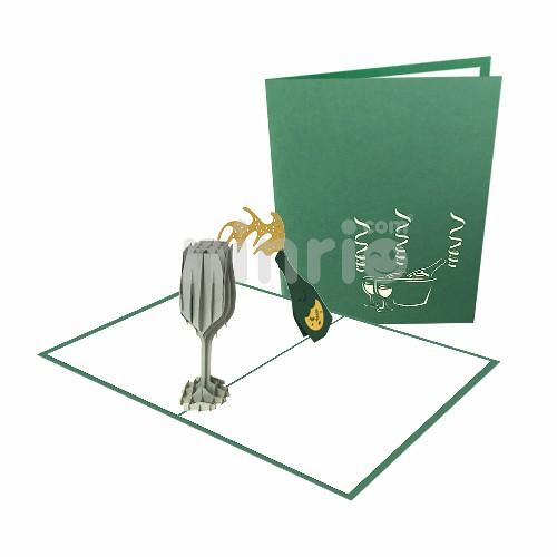 Champagne 3D Card - Congratulation Card