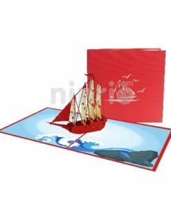 Thiệp 3D thuận buồm xuôi gió - Thiệp sinh nhật pop up