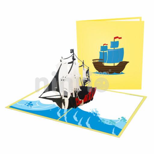 Pirate ship Card– Transport 3D Popup Card