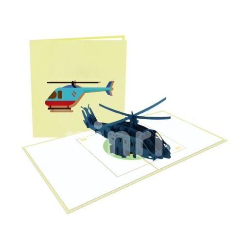 Black Helicopter Card – Transport 3D Popup Card
