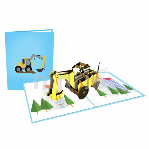 Bulldozer Card – Transport 3D Popup Card