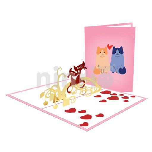 Thiệp Mèo tình yêu – Thiệp tình yêu Valentine