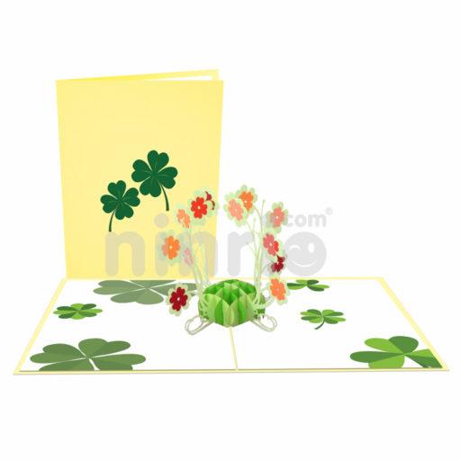 Thiệp Cỏ bốn lá 3D – Thiệp pop up hoa
