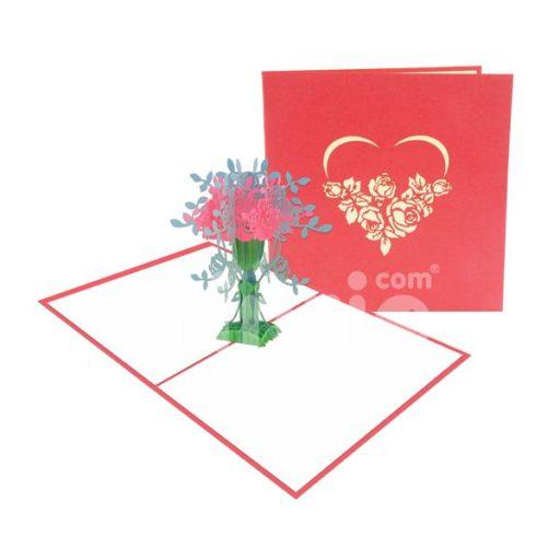 Thiệp Bình hoa 3D – Thiệp pop up hoa