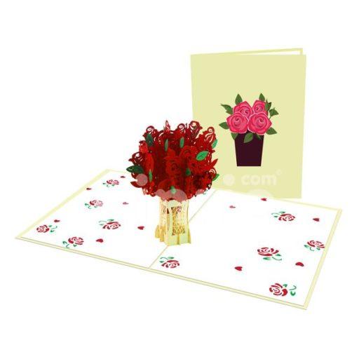 Red Rose Bouquet Card– Flower 3D Popup Card