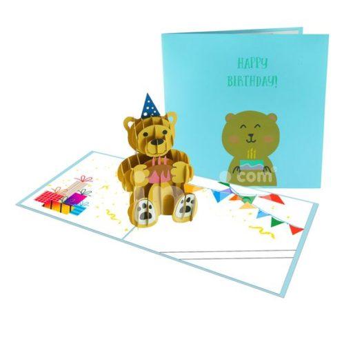 Thiệp Gấu sinh nhật - Thiệp 3D Gấu