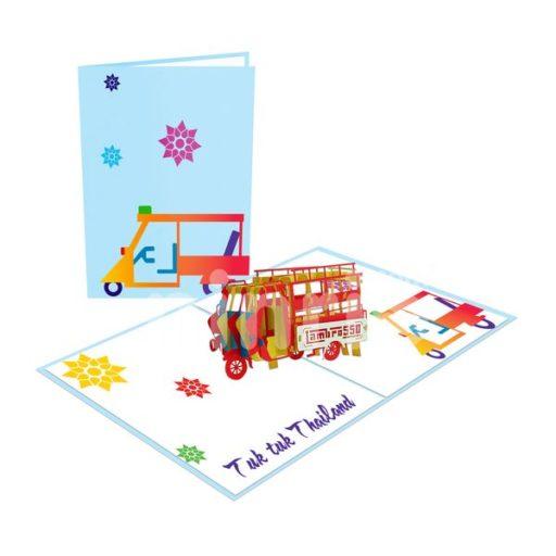 Samlor (Three-wheeler) Card– Transport 3D Popup Card