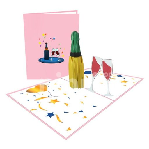 Champagne Card – Birthday 3D Popup Card