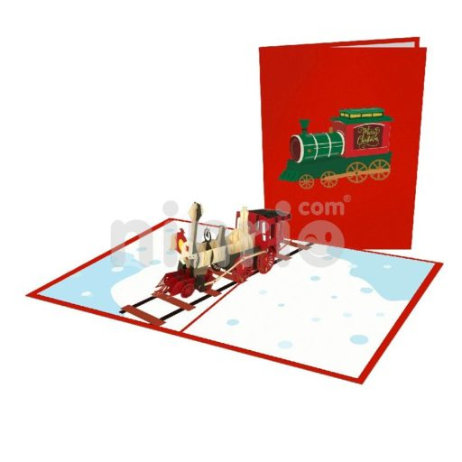 Christmas Train Card – Christmas 3D Popup Card