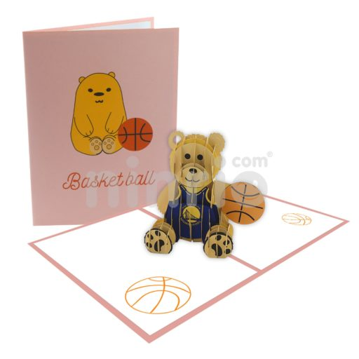 Basketball Bear Card – Animal 3D Popup Card