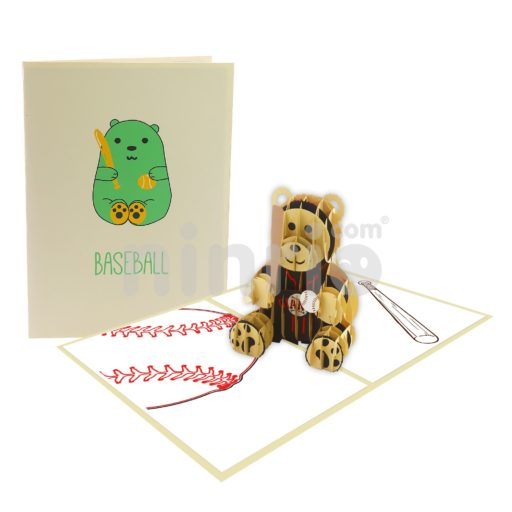 Baseball Bear Card – Animal 3D Popup Card