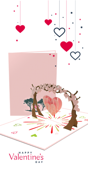 valentine card, valentine day pop up card